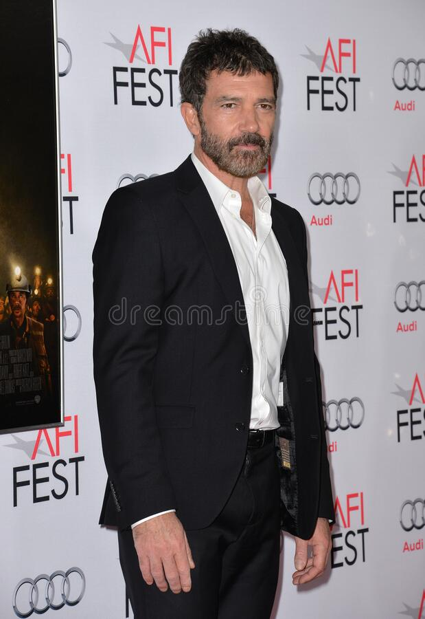 Antonio Banderas. LOS ANGELES, CA - NOVEMBER 9, 2015: Actor Antonio Banderas at the premiere of his movie \'The 33\', part of the AFI FEST 2015, at the TCL royalty free stock images