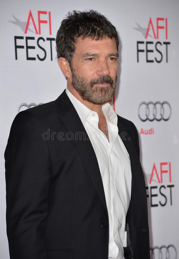 Antonio Banderas. LOS ANGELES, CA - NOVEMBER 9, 2015: Actor Antonio Banderas at the premiere of his movie \'The 33\', part of the AFI FEST 2015, at the TCL stock photo