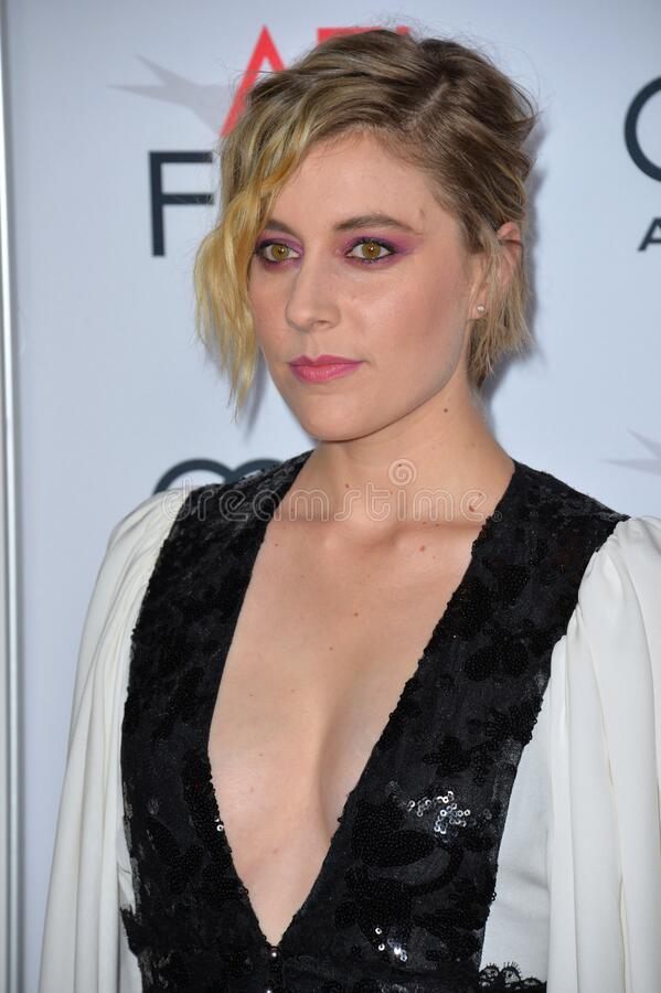 Greta Gerwig. LOS ANGELES, CA. November 16, 2016: Actress Greta Gerwig at the gala screening for 20th Century Women at the TCL Chinese Theatre stock images