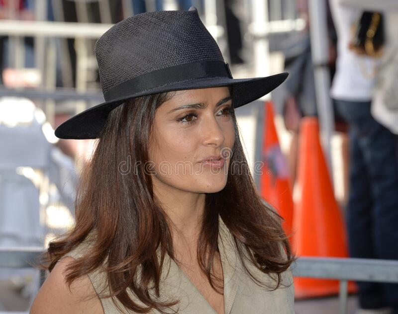 Salma Hayek. LOS ANGELES, CA - NOVEMBER 5, 2015: Actress Salma Hayek on Hollywood Boulevard where director Ridley Scott was honored with a star on the Walk of stock photos