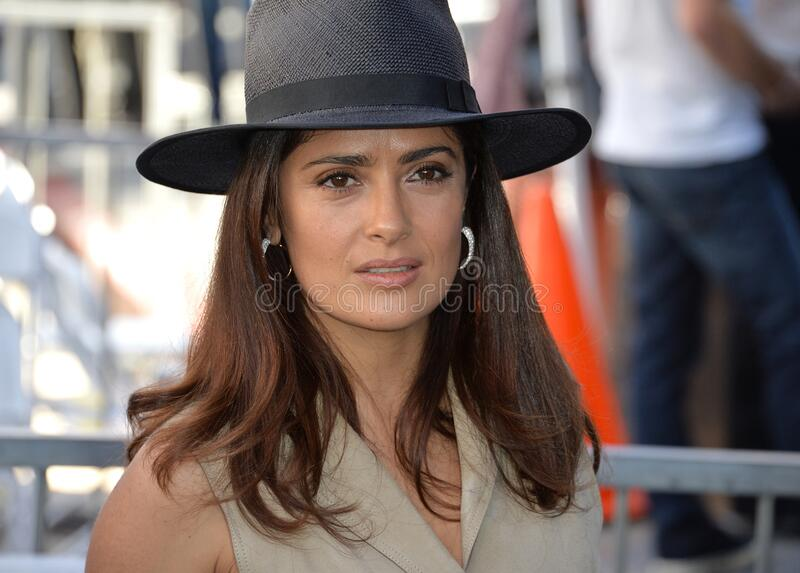 Salma Hayek. LOS ANGELES, CA - NOVEMBER 5, 2015: Actress Salma Hayek on Hollywood Boulevard where director Ridley Scott was honored with a star on the Walk of stock image
