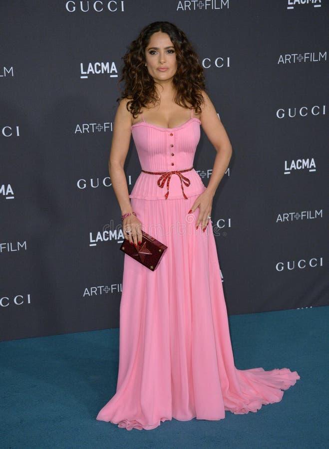 Salma Hayek. LOS ANGELES, CA - NOVEMBER 7, 2015: Actress Salma Hayek Pinault at the 2015 LACMA Art+Film Gala at the Los Angeles County Museum of Art stock photos