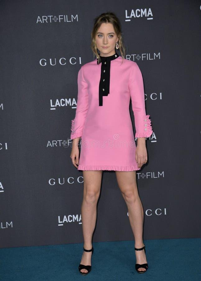 Saoirse Ronan. LOS ANGELES, CA - NOVEMBER 7, 2015: Actress Saoirse Ronan at the 2015 LACMA Art+Film Gala at the Los Angeles County Museum of Art stock photos