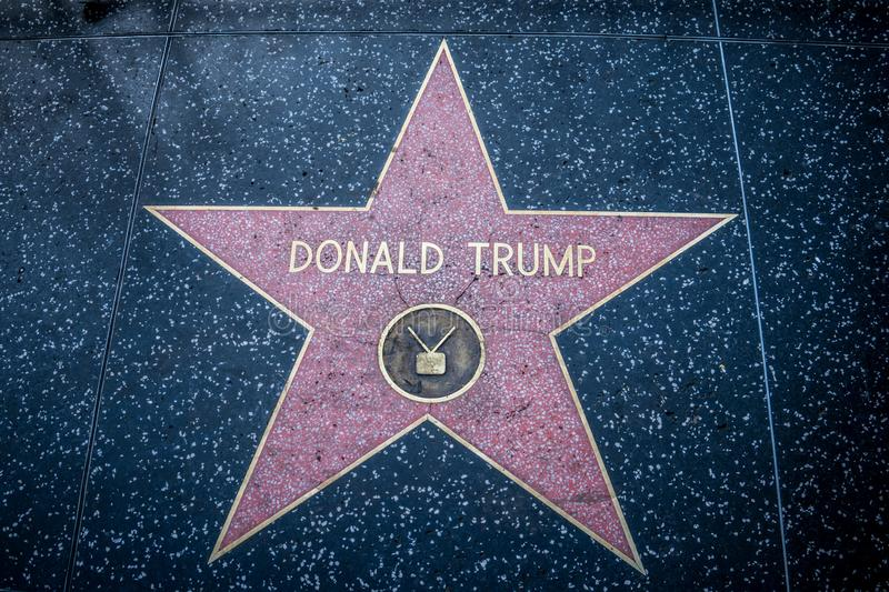 President Donald Trump`s star on Hollywood Walk of Fame in Los Angeles California on Hollywood. LOS ANGELES, CA - President Donald Trump`s star on Hollywood Walk royalty free stock image