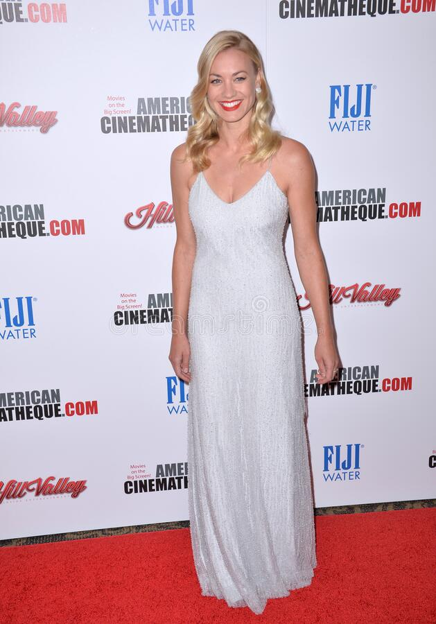 Yvonne Strahovski. LOS ANGELES, CA - OCTOBER 30, 2015: Actress Yvonne Strahovski at the American Cinematheque 2015 Award Show at the Century Plaza Hotel stock photography