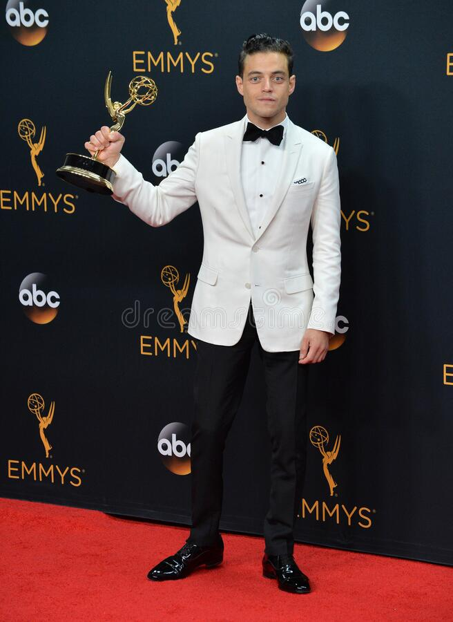 Rami Malek. LOS ANGELES, CA. September 18, 2016: Actor Rami Malek at the 68th Primetime Emmy Awards at the Microsoft Theatre L.A. Live stock images