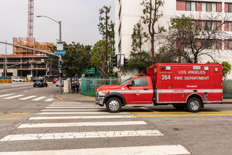 Fire department rescue van, Los Angeles California. Los Angeles, CA, USA - April 5, 2018: Red Fire Department Rescue Van on street corner of New High and Cesar royalty free stock images