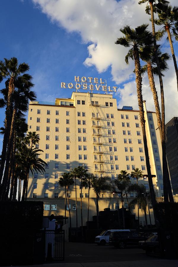 Historic Roosevelt Hotel in Hollywood Exterior During the Late Afternoon. Los Angeles, CA / USA - Feb. 18, 2019: The historic Roosevelt Hotel in Hollywood is royalty free stock photography