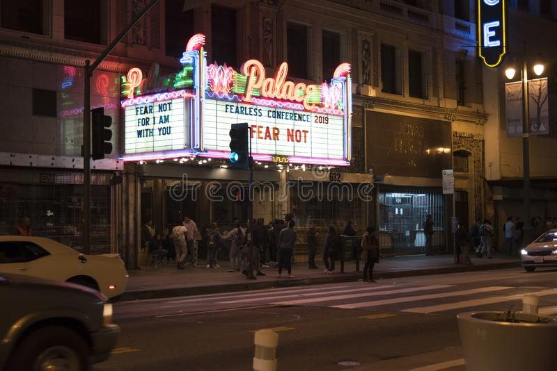 Historic Palace Theatre in Los Angeles. LOS ANGELES, CA/USA - FEBRUARY 16, 2019: Crowds wait to enter the historic Palace Theatre in LA's Broadway Theatre stock photos