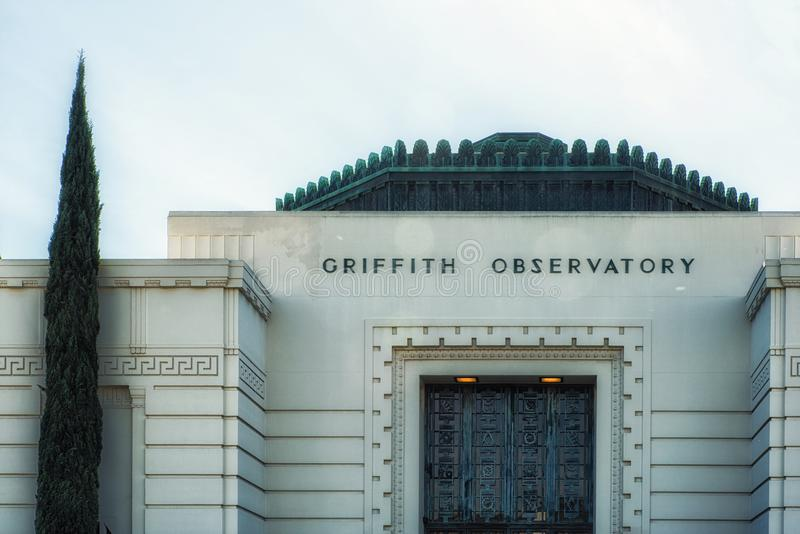Architectural Detail of Griffith Observatory. Los Angeles, CA, USA - February 02, 2018: The logo of Griffith Observatory at the entrance of the legendary royalty free stock images