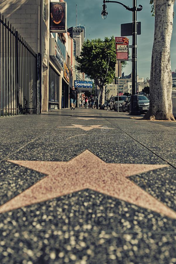 Hollywood Walk of Fame. Los Angeles, CA, USA - February 02, 2018: Walk of Fame at sunset on Hollywood Boulevard. In 1958, the Hollywood Walk of Fame was created royalty free stock photos