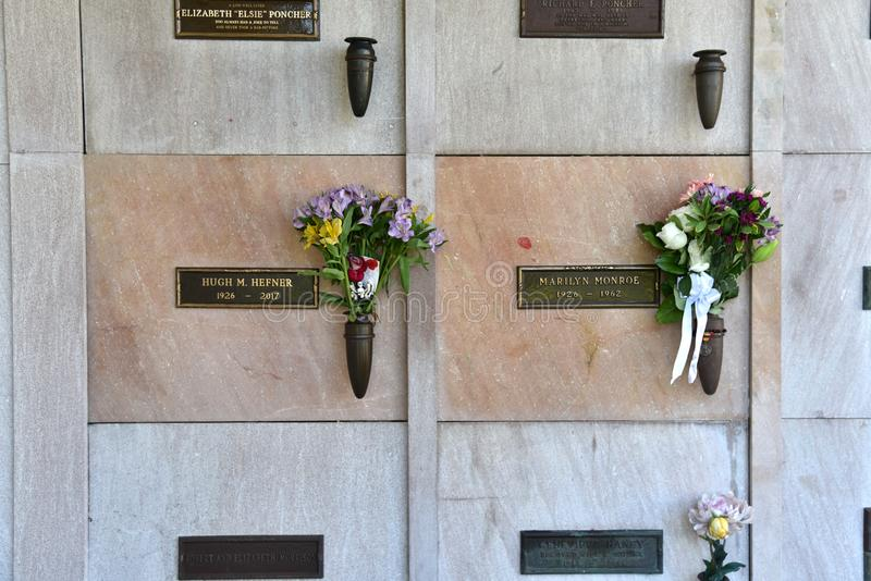 Marilyn Monroe and Hugh Hefner`s Graves royalty free stock photography