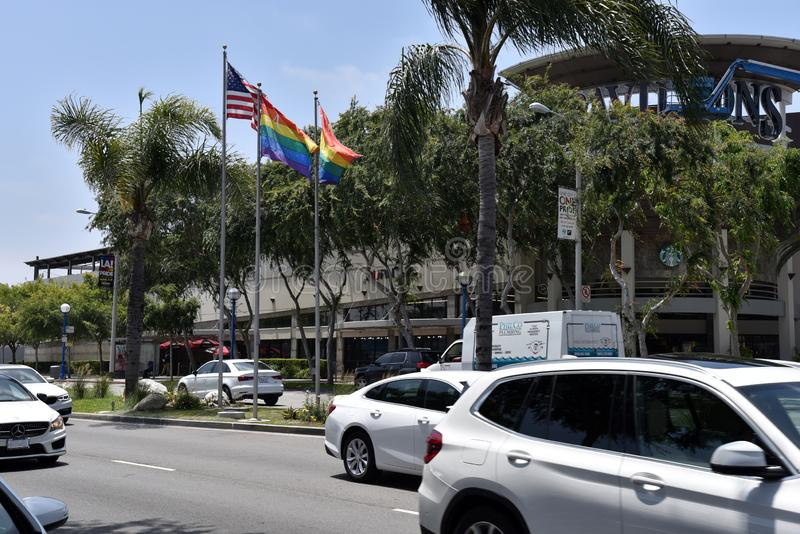 Gay Pride Flags Flying on Santa Monica Blvd. LOS ANGELES, CA/USA  - MAY 31, 2019: Gay pride flags fly on Santa Monica Blvd in preparation for the LA Pride Parade royalty free stock images