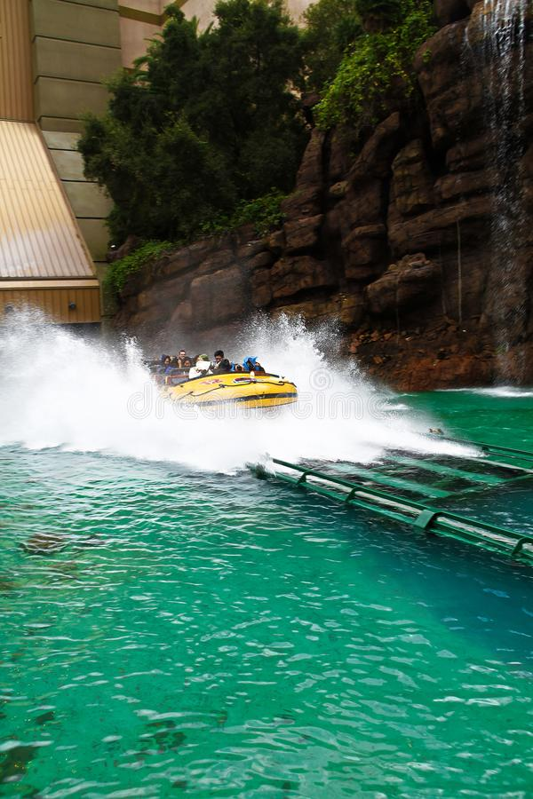 Jurassic Park the Ride. LOS ANGELES,CA/USA - Oct 21 2016: Water attraction of the Jurassic Park the Ride in the Universal Studios Hollywood . Jurassic Park is a stock photo