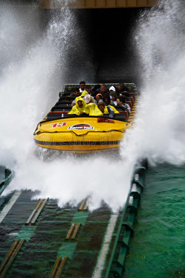 Jurassic Park the Ride. LOS ANGELES,CA/USA - Oct 21 2016: Water attraction of the Jurassic Park the Ride in the Universal Studios Hollywood . Jurassic Park is a royalty free stock photography