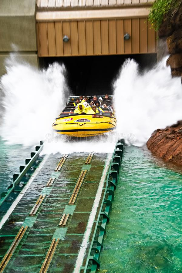 Jurassic Park the Ride. LOS ANGELES,CA/USA - Oct 21 2016: Water attraction of the Jurassic Park the Ride in the Universal Studios Hollywood . Jurassic Park is a royalty free stock image