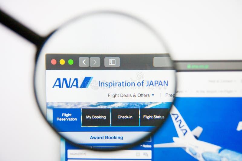 Los Angeles, Califórnia, EUA - 14 de fevereiro de 2019: Homepage do Web site de All Nippon Airways Logotipo de All Nippon Airways fotos de stock royalty free