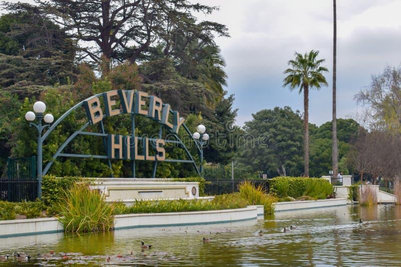 Los Angeles, Califórnia, EUA - 5 de janeiro de 2019: Beverly Hills Sign imagens de stock