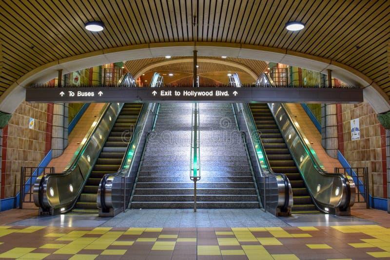 Los Angeles, Califórnia, EUA - 4 de janeiro de 2019: Estação de metro Hollywood/videira imagens de stock royalty free