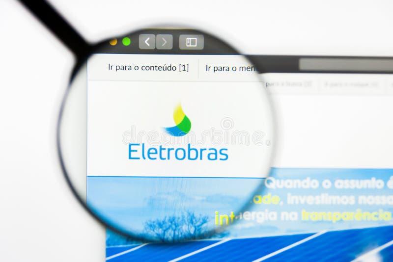 Los Angeles, Califórnia, EUA - 12 de março de 2019: Editorial ilustrativo, homepage do Web site de Eletrobras Logotipo de Eletrob imagem de stock