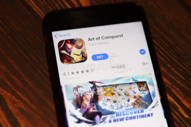 Los Angeles, Califórnia, EUA - 27 de novembro de 2019: Arte da página Conquest App Store fechada, Editorial Ilustrativo imagens de stock royalty free