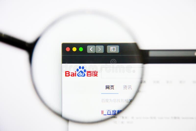 Los Angeles, Californië, de V.S. - 25 Januari 2019: De homepage van de Baiduwebsite Baiduembleem zichtbaar op het vertoningsscher stock afbeeldingen