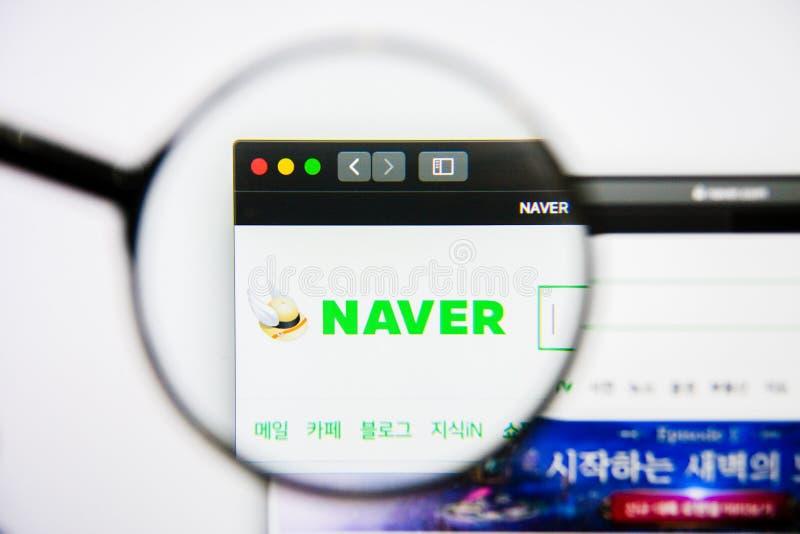 Los Angeles, Californië, de V.S. - 25 Januari 2019: De homepage van de Naverwebsite Naverembleem zichtbaar op het vertoningsscher stock foto's