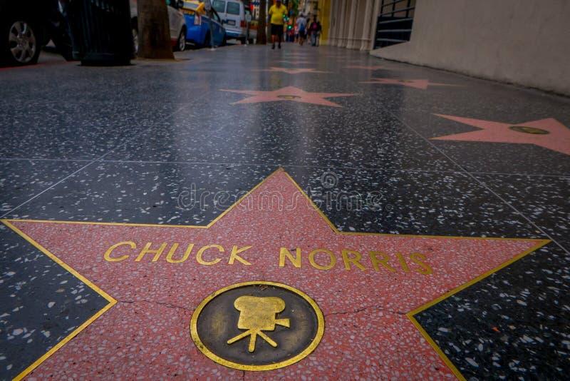 Los Angeles, Californië, de V.S., 15 JUNI, 2018: Chuck Norris-ster op de Hollywood-Gang van Bekendheid in Hollywood, Californië stock foto