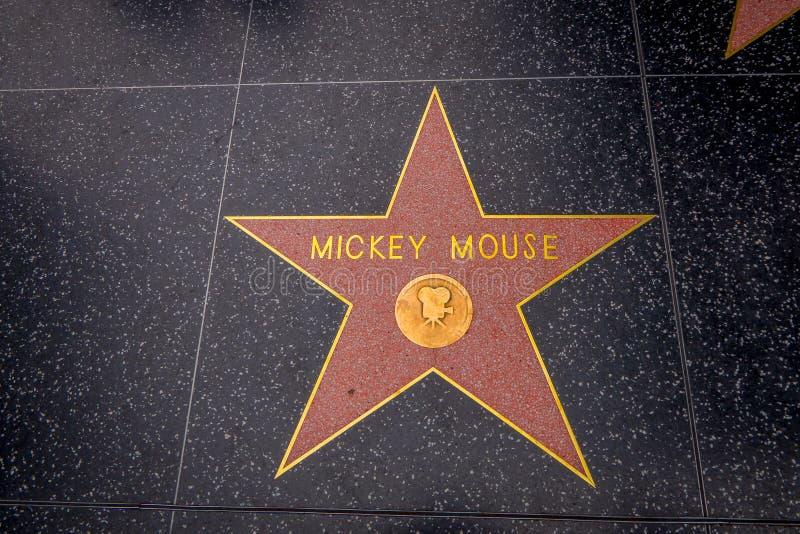 Los Angeles, Californië, de V.S., 15 JUNI, 2018: De ster van Mickey Mouse ` s op Hollywood-Gang van Bekendheid in Hollywood, Cali stock afbeeldingen