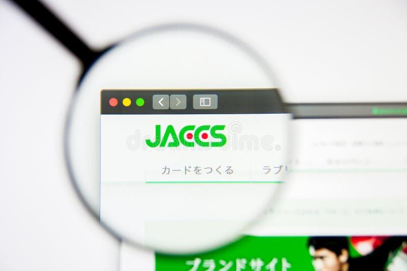 Los Angeles, Californië, VS - 5 maart 2019: Homepage Jaccs-website Het embleem van Jaccs zichtbaar op het vertoningsscherm, Illus stock foto