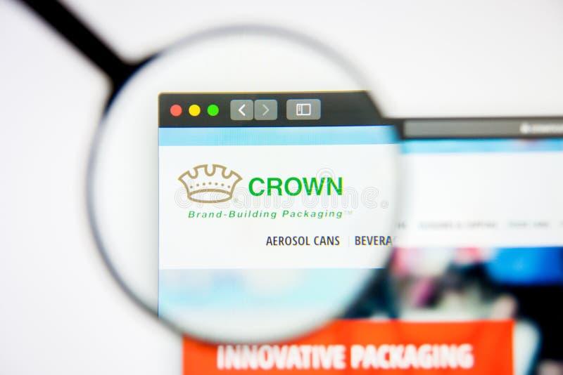 Los Angeles, Californië, VS - 5 maart 2019: Homepage van Crown Holdings het kroonbedrijfslogo zichtbaar op het scherm; stock foto's