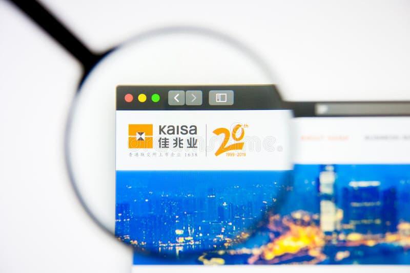 Los Angeles, Californië, VS - 5 maart 2019: Homepage van de website van Kaisa Group Holdings Het logo van Kaisa Group Holdings is royalty-vrije stock fotografie