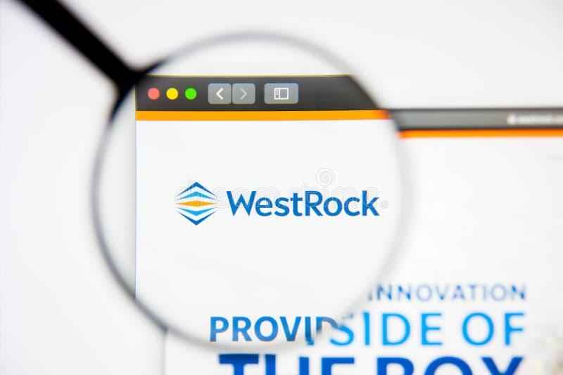 Los Angeles, Californië, VS - 5 maart 2019: Homepage van de website van WestRock Het logo van WestRock is zichtbaar op het scherm stock foto's