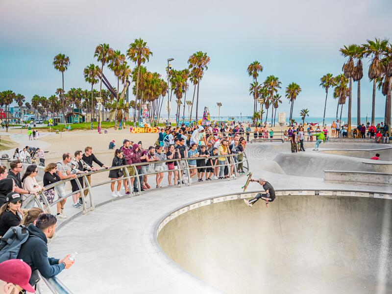 Skateboarding in Venice Beach skate park Los Angeles, California royalty free stock photography