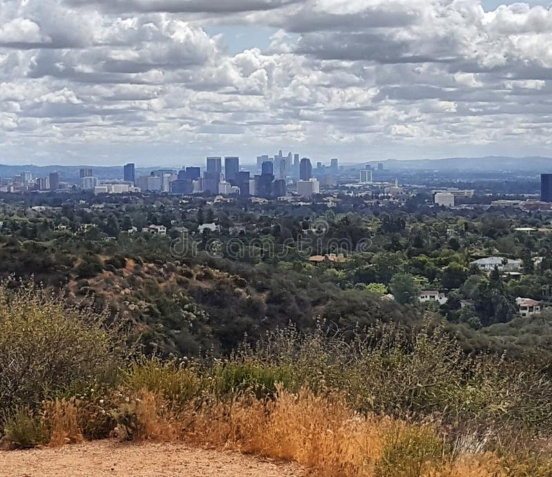 Los Angeles California. Downtown View from Hills stock photo
