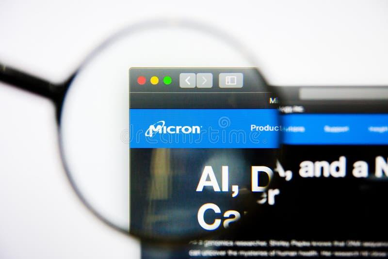Los Angeles, California, los E.E.U.U. - 25 de enero de 2019: Homepage de la página web de la tecnología del micrón Logotipo de la fotos de archivo libres de regalías