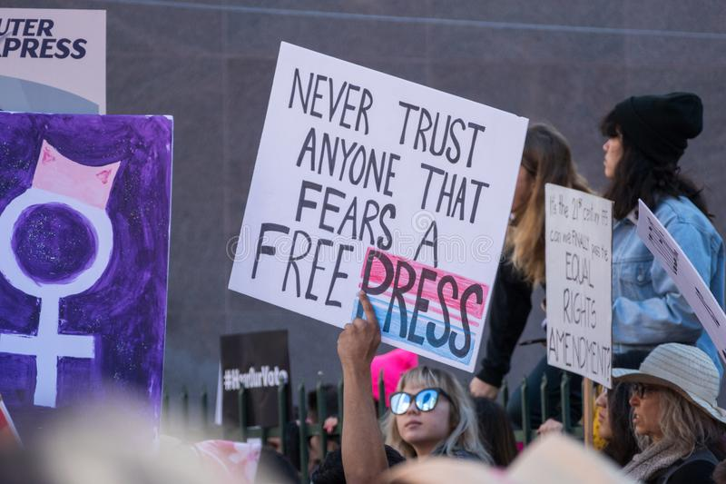 2nd Annual Women`s March - Free Press royalty free stock photography