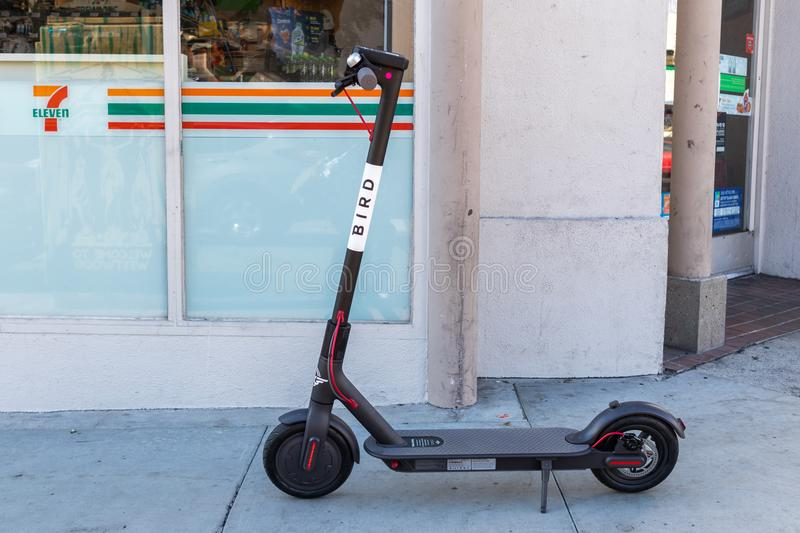BIRD electric scooter nuisance to residents. LOS ANGELES, CALIFORNIA - JUNE 28, 2018: A wave of backlash is coming for BIRD`S CEO Travis VanderZanden. City royalty free stock images