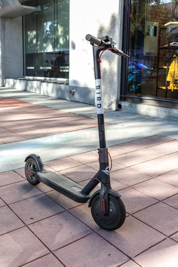 BIRD electric scooter nuisance to residents. LOS ANGELES, CALIFORNIA - JUNE 28, 2018: A wave of backlash is coming for BIRD`S CEO Travis VanderZanden. City royalty free stock image