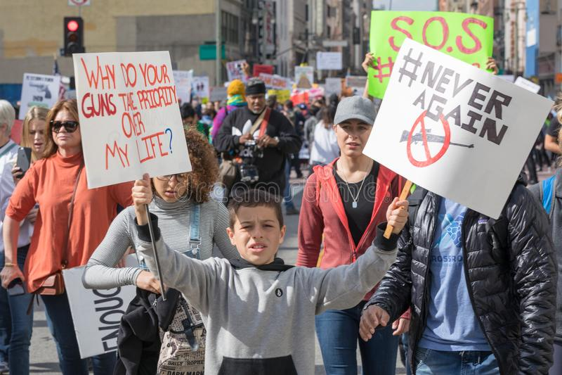 March For Our Lives Los Angeles. LOS ANGELES, CALIFORNIA - MARCH 24, 2018: Students, parents and supporters march in Los Angeles in the March For Our Lives royalty free stock image