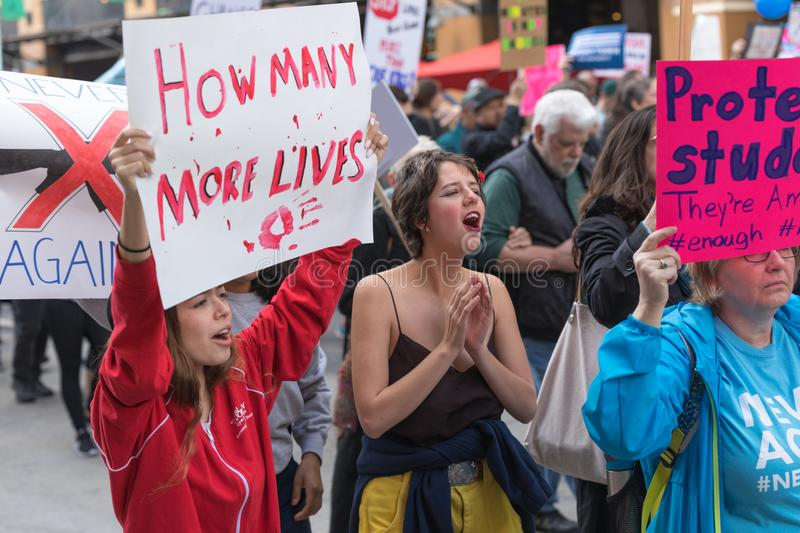 March For Our Lives Los Angeles. LOS ANGELES, CALIFORNIA - MARCH 24, 2018: Students, parents and supporters march in Los Angeles in the March For Our Lives stock image