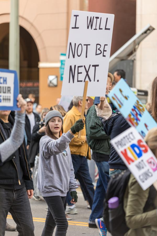March For Our Lives Los Angeles. LOS ANGELES, CALIFORNIA - MARCH 24, 2018: Students, parents and supporters march in Los Angeles in the March For Our Lives stock photo
