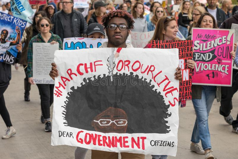 March For Our Lives Los Angeles. LOS ANGELES, CALIFORNIA - MARCH 24, 2018: Students, parents and supporters march in Los Angeles in the March For Our Lives stock images