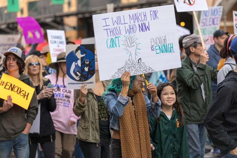 March For Our Lives Los Angeles. LOS ANGELES, CALIFORNIA - MARCH 24, 2018: Students, parents and supporters march in Los Angeles in the March For Our Lives stock photos