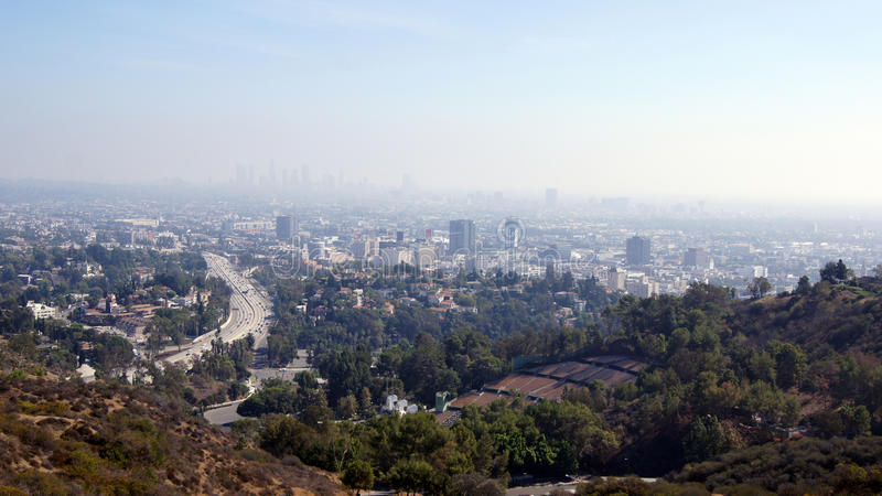 LOS ANGELES, CALIFORNIA - OCTOBER 11th, 2014: View of the Hollywood Bowl and Downtown LA. LOS ANGELES, CALIFORNIA, UNITED STATES - OCTOBER 11th, 2014: View of stock photography