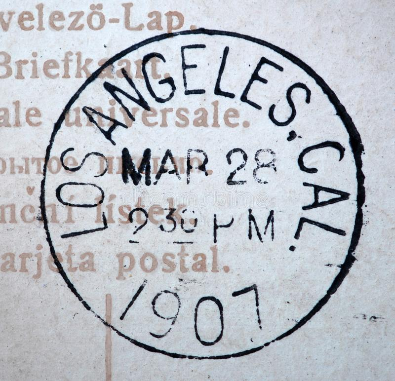 1907 Los Angeles California postmark. A 1907 Los Angeles California postmark. This image could illustrate travel, tourism, philately or scrapbooking royalty free stock photos