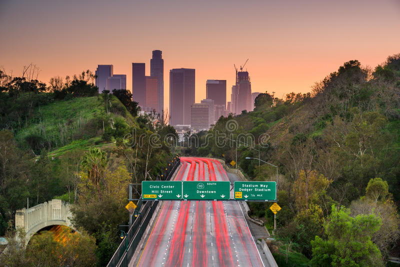 Los Angeles California. Los Angeles, California skyline over the interstate royalty free stock images
