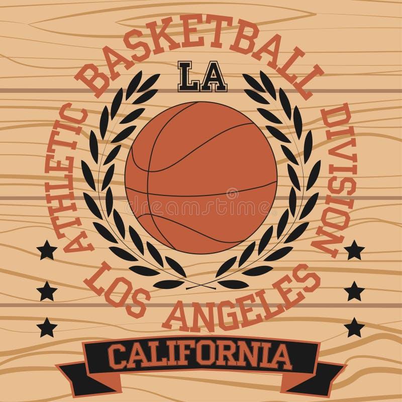 Los Angeles California sport. Typography t-shirt basketball burning ball champion college team - vector stock illustration