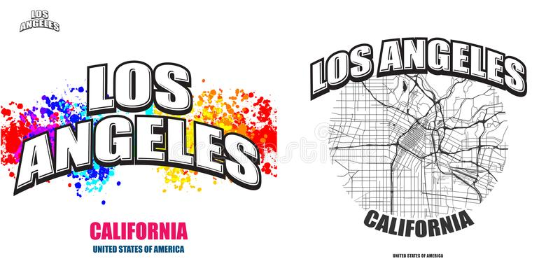 Los Angeles, California, two logo artworks. Los Angeles, California, logo design. Two in one vector arts. Big logo with vintage letters with nice colored stock illustration