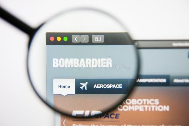 Los Angeles, California, U.S.A. - 14 febbraio 2019: Homepage aerospaziale del sito Web del bombardiere Logo del bombardiere visib fotografia stock